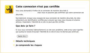 Avertissement sur le certificat